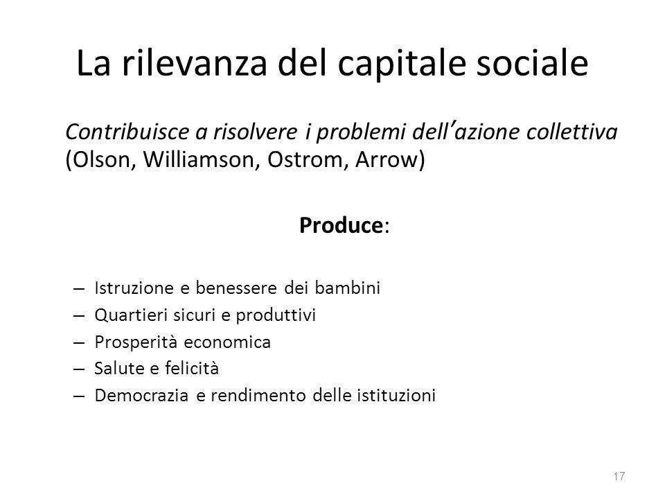 La rilevanza del capitale sociale Contribuisce a risolvere i problemi dell'azione collettiva (Olson, Williamson, Ostrom, Arrow) Produce: – Istruzione