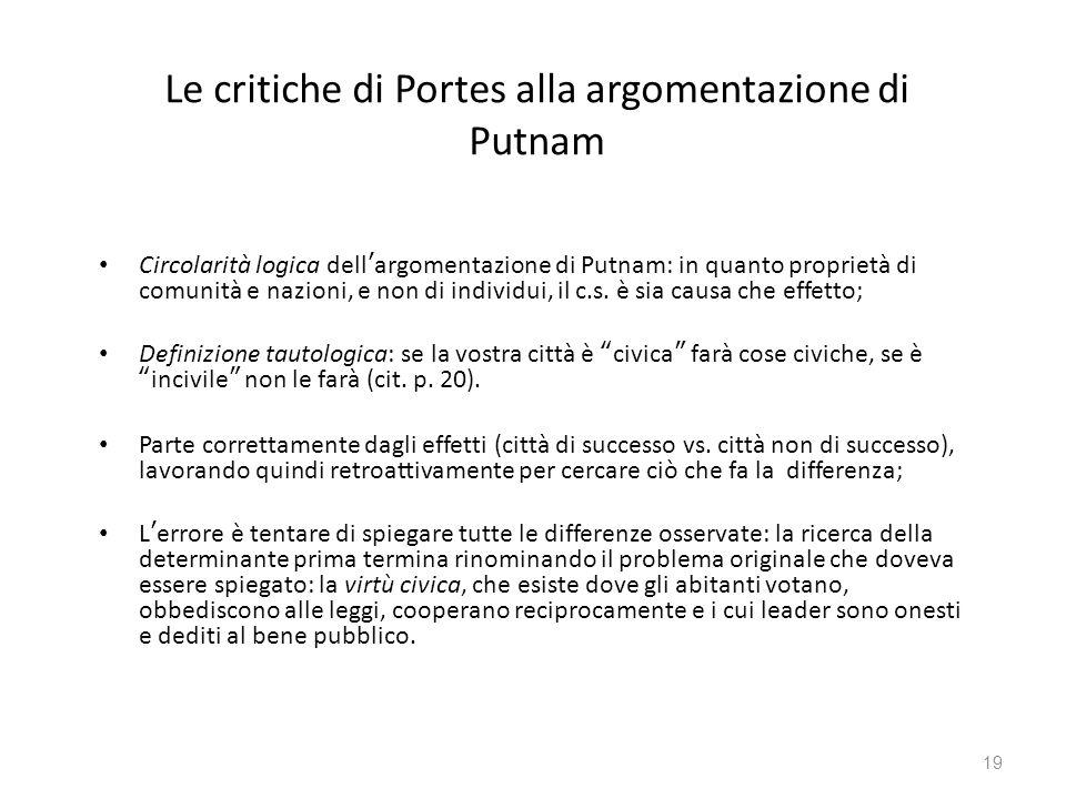 Le critiche di Portes alla argomentazione di Putnam Circolarità logica dell'argomentazione di Putnam: in quanto proprietà di comunità e nazioni, e non