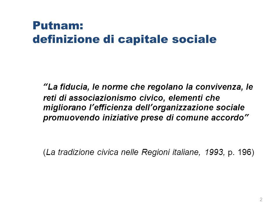"""Putnam: definizione di capitale sociale """"La fiducia, le norme che regolano la convivenza, le reti di associazionismo civico, elementi che migliorano l"""