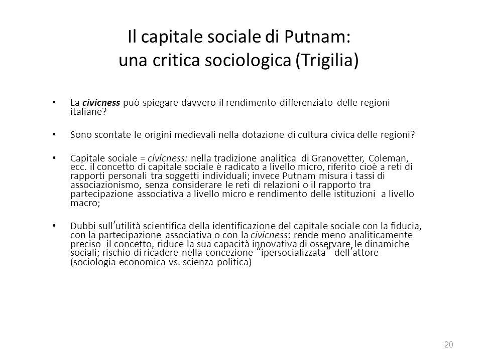 Il capitale sociale di Putnam: una critica sociologica (Trigilia) La civicness può spiegare davvero il rendimento differenziato delle regioni italiane