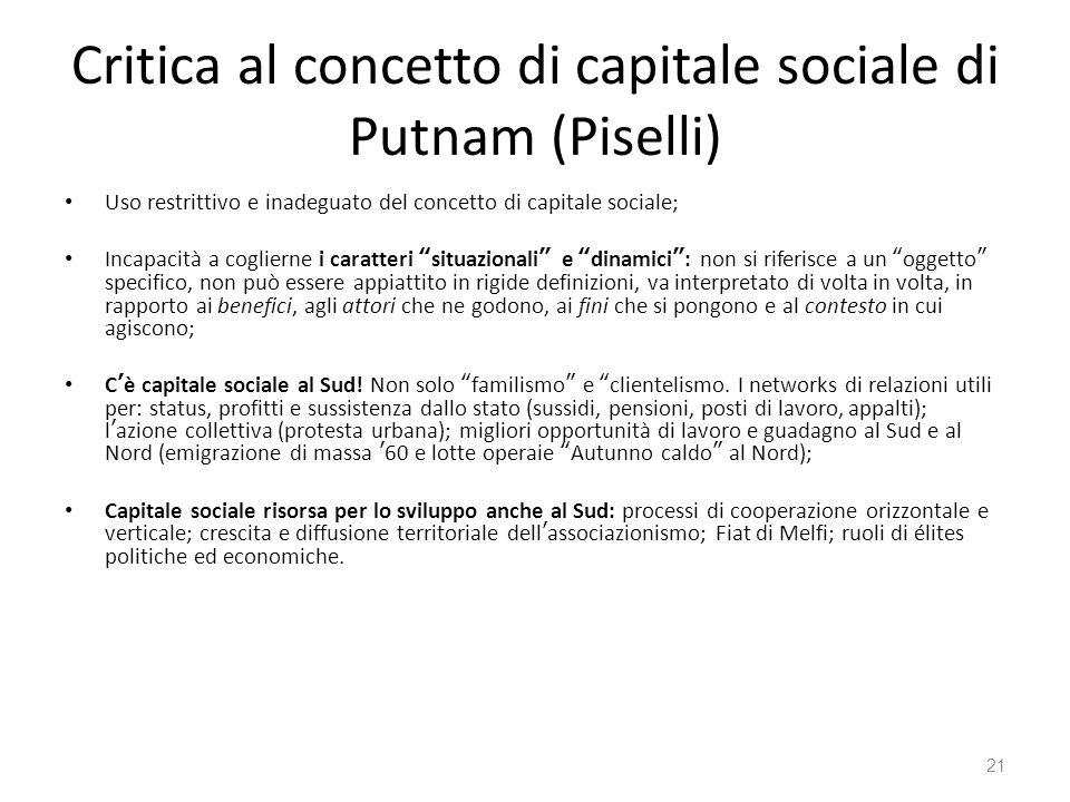 Critica al concetto di capitale sociale di Putnam (Piselli) Uso restrittivo e inadeguato del concetto di capitale sociale; Incapacità a coglierne i ca