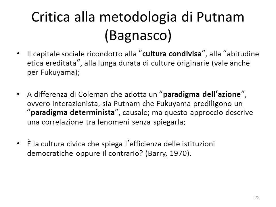 """Critica alla metodologia di Putnam (Bagnasco) Il capitale sociale ricondotto alla """"cultura condivisa"""", alla """"abitudine etica ereditata"""", alla lunga du"""