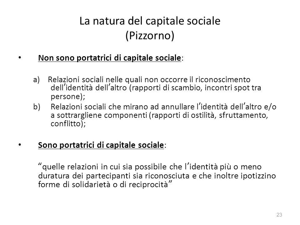 La natura del capitale sociale (Pizzorno) Non sono portatrici di capitale sociale: a) Relazioni sociali nelle quali non occorre il riconoscimento dell