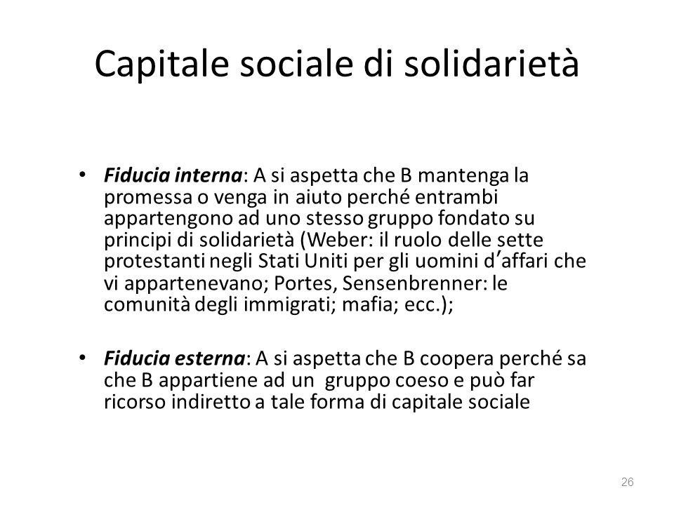 Capitale sociale di solidarietà Fiducia interna: A si aspetta che B mantenga la promessa o venga in aiuto perché entrambi appartengono ad uno stesso g