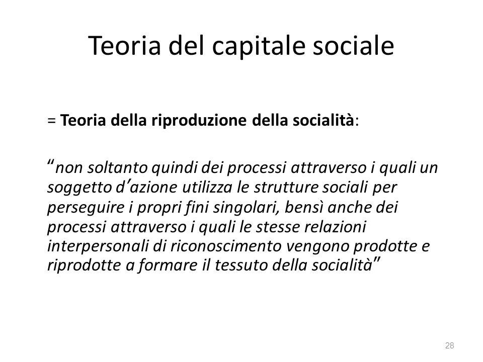 """Teoria del capitale sociale = Teoria della riproduzione della socialità: """"non soltanto quindi dei processi attraverso i quali un soggetto d'azione uti"""