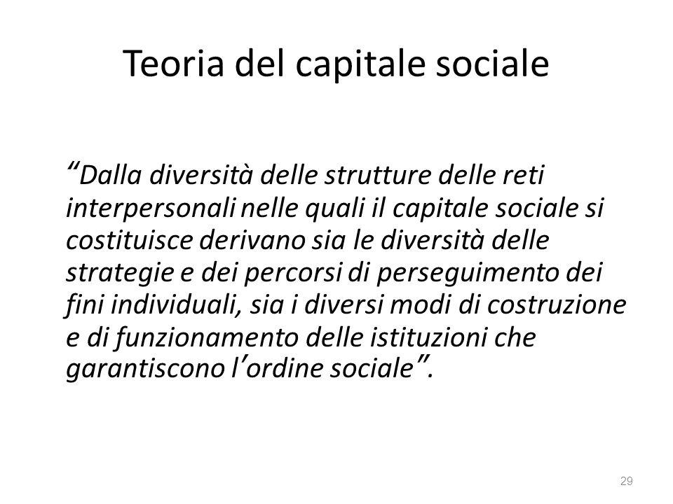 """Teoria del capitale sociale """"Dalla diversità delle strutture delle reti interpersonali nelle quali il capitale sociale si costituisce derivano sia le"""
