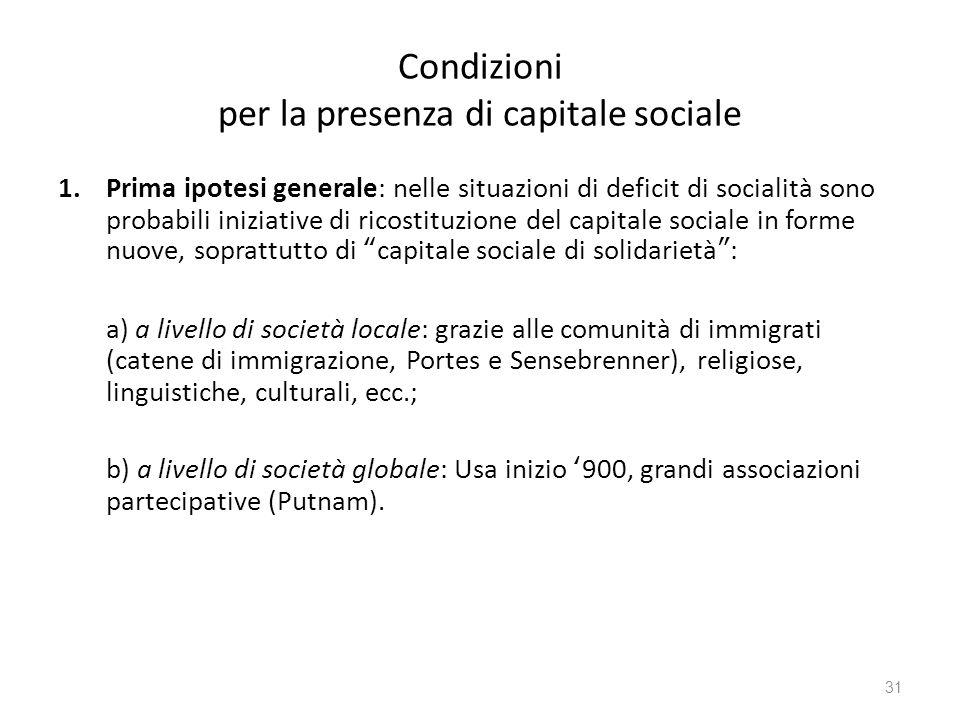 Condizioni per la presenza di capitale sociale 1.Prima ipotesi generale: nelle situazioni di deficit di socialità sono probabili iniziative di ricosti