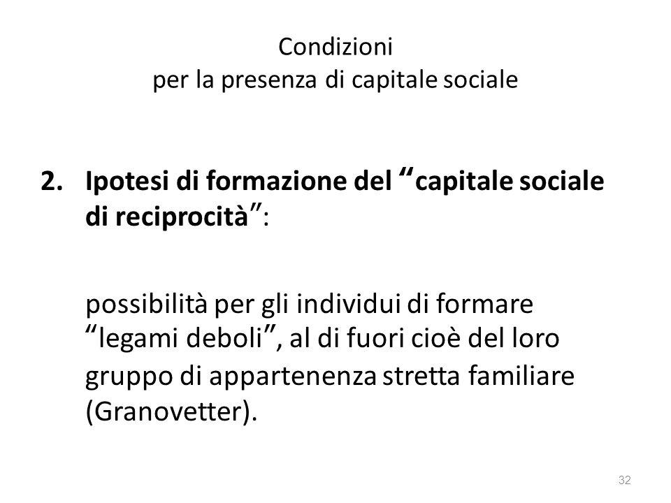 """Condizioni per la presenza di capitale sociale 2.Ipotesi di formazione del """"capitale sociale di reciprocità"""": possibilità per gli individui di formare"""
