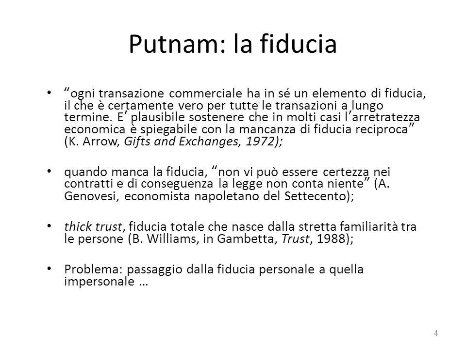 """Putnam: la fiducia """"ogni transazione commerciale ha in sé un elemento di fiducia, il che è certamente vero per tutte le transazioni a lungo termine. E"""