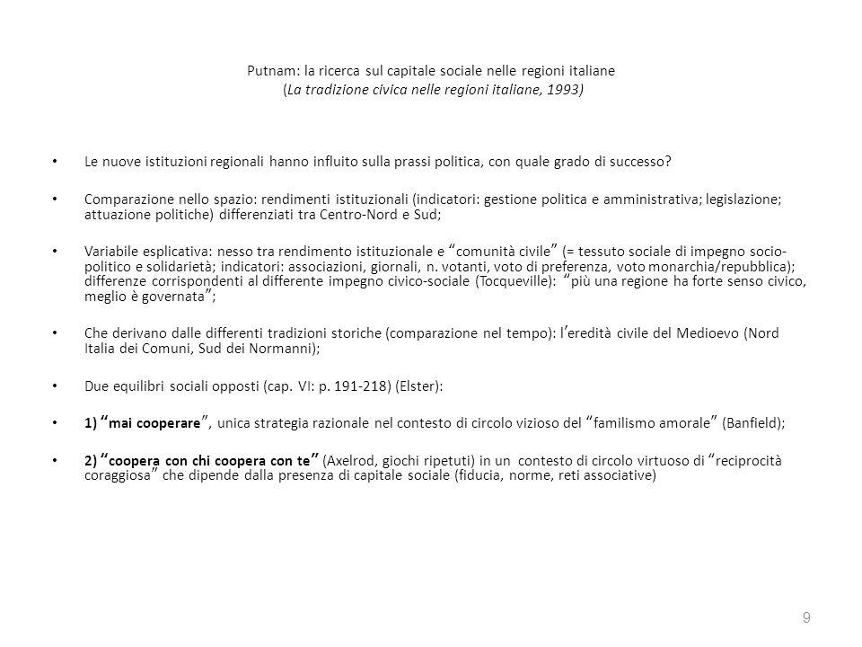 Putnam: la ricerca sul capitale sociale nelle regioni italiane (La tradizione civica nelle regioni italiane, 1993) Le nuove istituzioni regionali hann