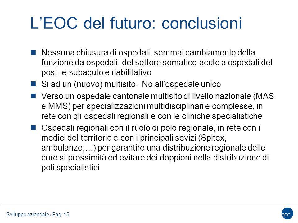 L'EOC del futuro: conclusioni Nessuna chiusura di ospedali, semmai cambiamento della funzione da ospedali del settore somatico-acuto a ospedali del po