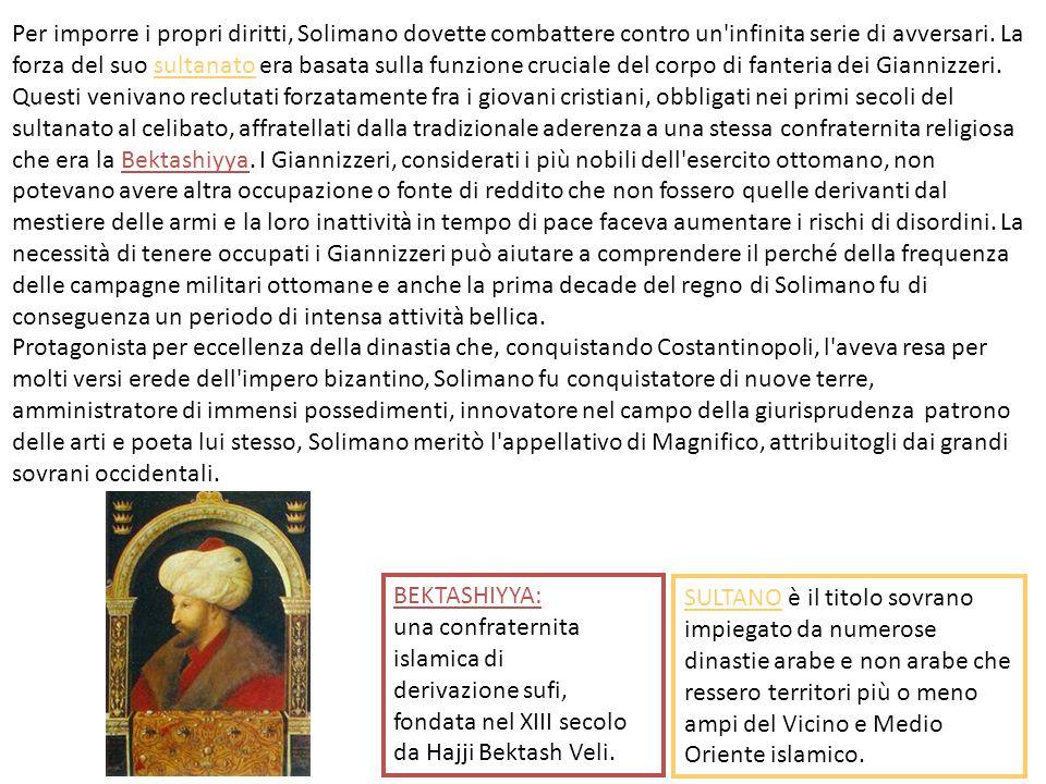 Per imporre i propri diritti, Solimano dovette combattere contro un'infinita serie di avversari. La forza del suo sultanato era basata sulla funzione