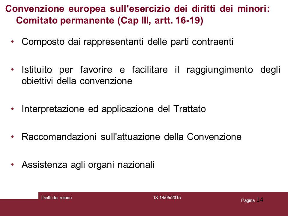 Pagina 14 Composto dai rappresentanti delle parti contraenti Istituito per favorire e facilitare il raggiungimento degli obiettivi della convenzione I