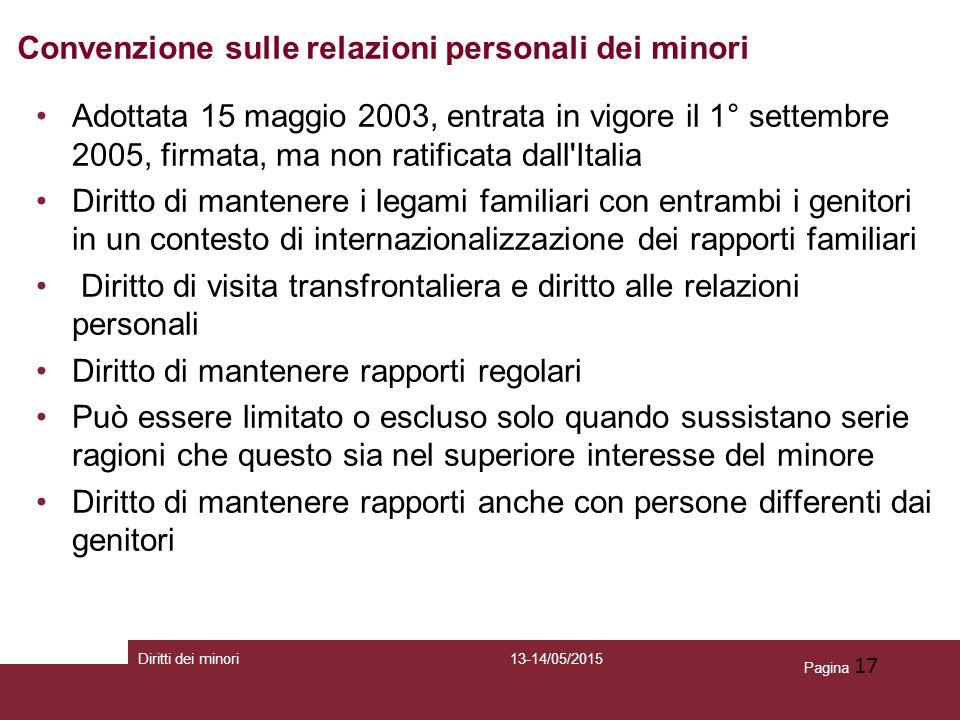 Pagina 17 Adottata 15 maggio 2003, entrata in vigore il 1° settembre 2005, firmata, ma non ratificata dall'Italia Diritto di mantenere i legami famili
