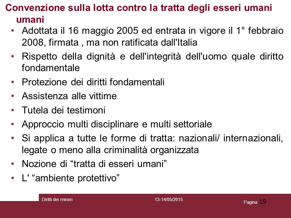 Pagina 19 Adottata il 16 maggio 2005 ed entrata in vigore il 1° febbraio 2008, firmata, ma non ratificata dall'Italia Rispetto della dignità e dell'in