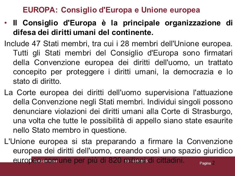 13-14/05/2015Diritti dei minori Pagina 2 EUROPA: Consiglio d'Europa e Unione europea Il Consiglio d'Europa è la principale organizzazione di difesa de