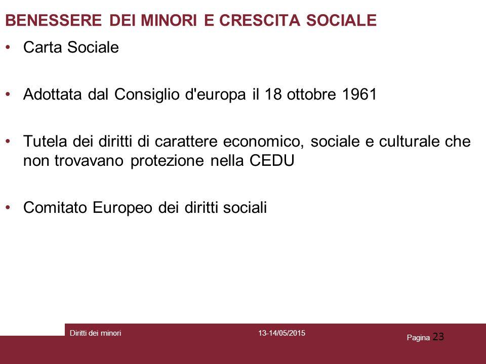 Pagina 23 BENESSERE DEI MINORI E CRESCITA SOCIALE Carta Sociale Adottata dal Consiglio d'europa il 18 ottobre 1961 Tutela dei diritti di carattere eco