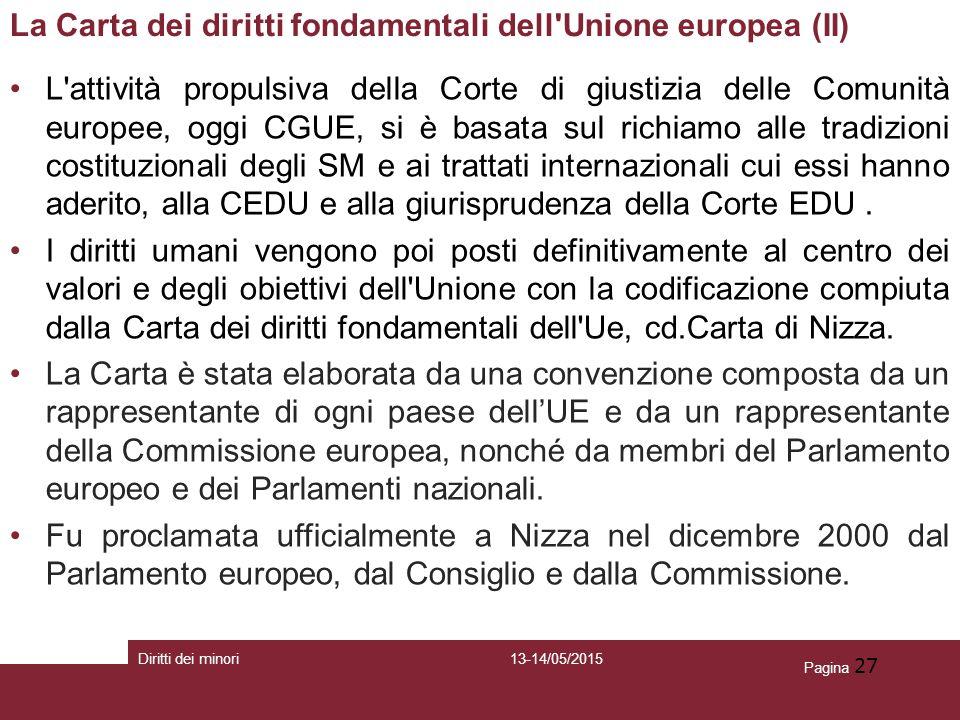 Pagina 27 La Carta dei diritti fondamentali dell'Unione europea (II) L'attività propulsiva della Corte di giustizia delle Comunità europee, oggi CGUE,