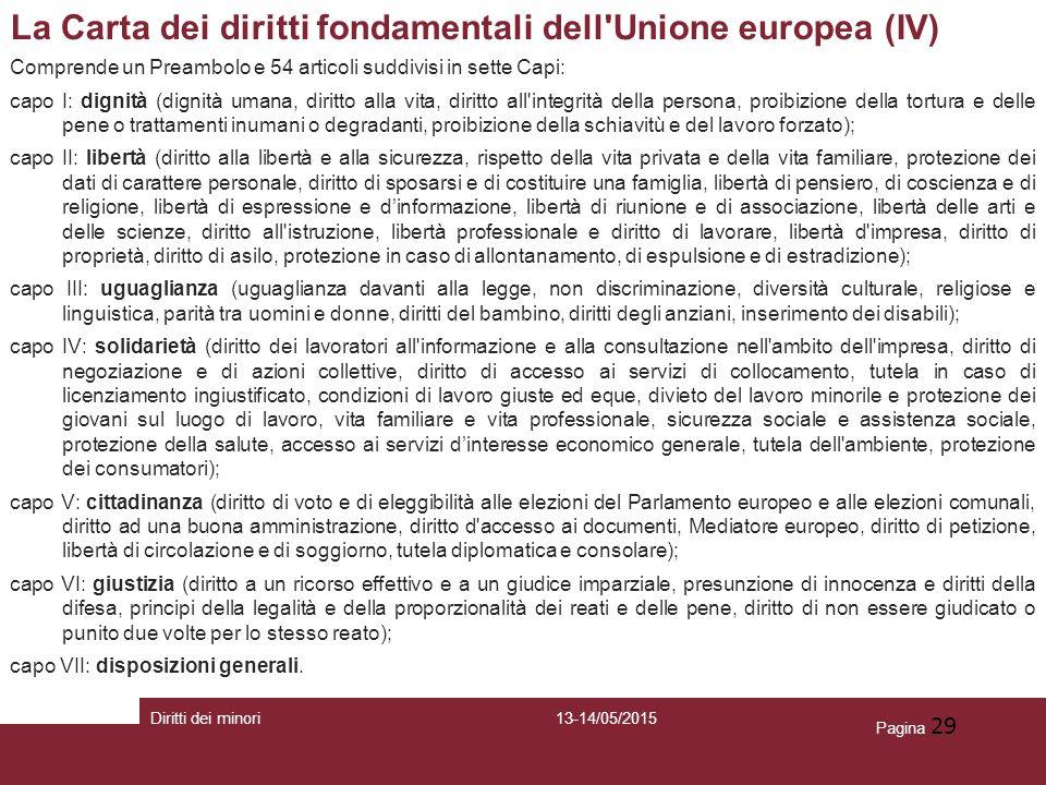 Pagina 29 La Carta dei diritti fondamentali dell'Unione europea (IV) Comprende un Preambolo e 54 articoli suddivisi in sette Capi: capo I: dignità (di