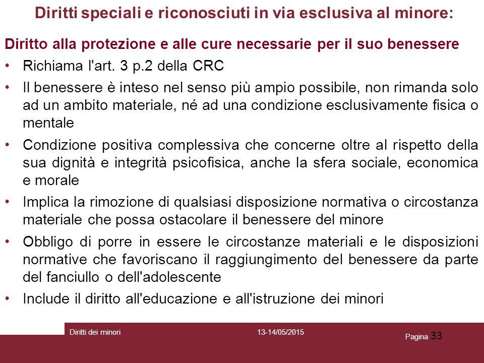 Pagina 33 Diritti speciali e riconosciuti in via esclusiva al minore: Diritto alla protezione e alle cure necessarie per il suo benessere Richiama l'a