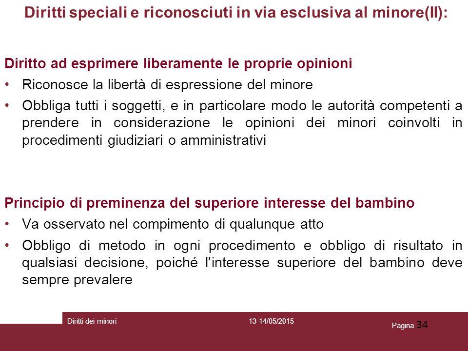 Pagina 34 Diritti speciali e riconosciuti in via esclusiva al minore(II): Diritto ad esprimere liberamente le proprie opinioni Riconosce la libertà di