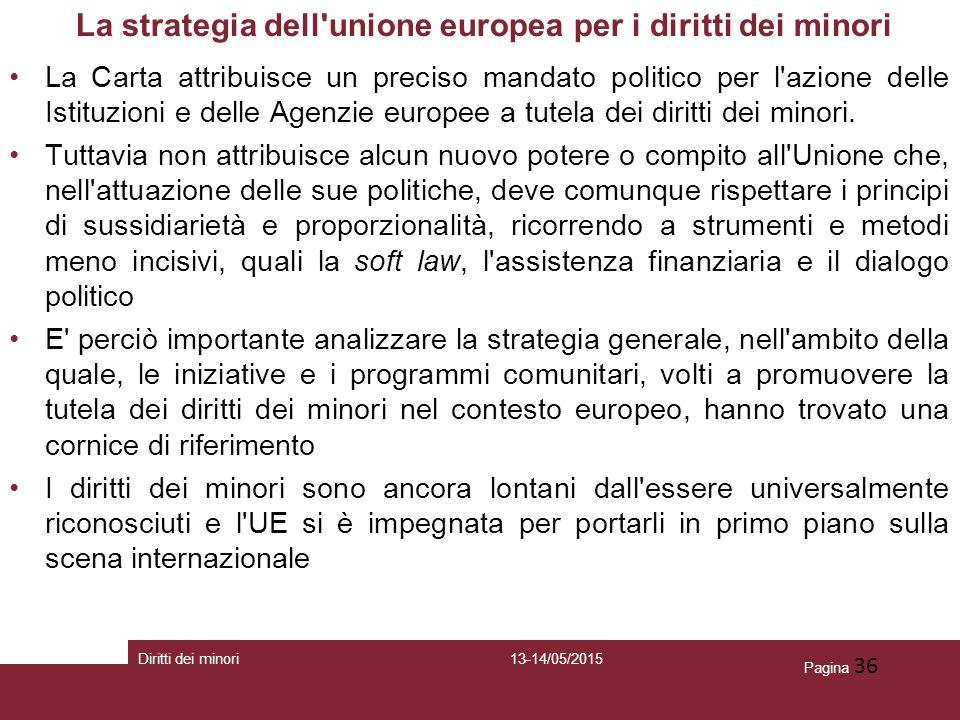 Pagina 36 La strategia dell'unione europea per i diritti dei minori La Carta attribuisce un preciso mandato politico per l'azione delle Istituzioni e
