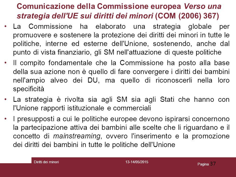 Pagina 37 Comunicazione della Commissione europea Verso una strategia dell'UE sui diritti dei minori (COM (2006) 367) La Commissione ha elaborato una
