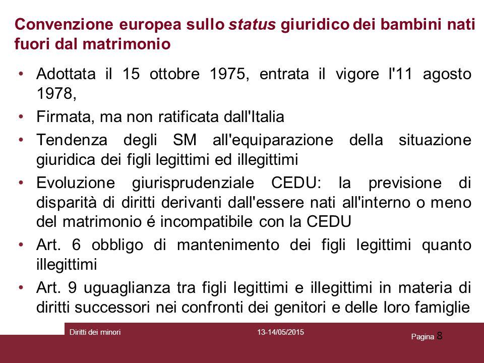 Pagina 8 Convenzione europea sullo status giuridico dei bambini nati fuori dal matrimonio Adottata il 15 ottobre 1975, entrata il vigore l'11 agosto 1