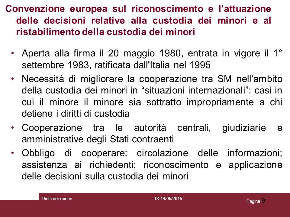 Pagina 9 Aperta alla firma il 20 maggio 1980, entrata in vigore il 1° settembre 1983, ratificata dall'Italia nel 1995 Necessità di migliorare la coope