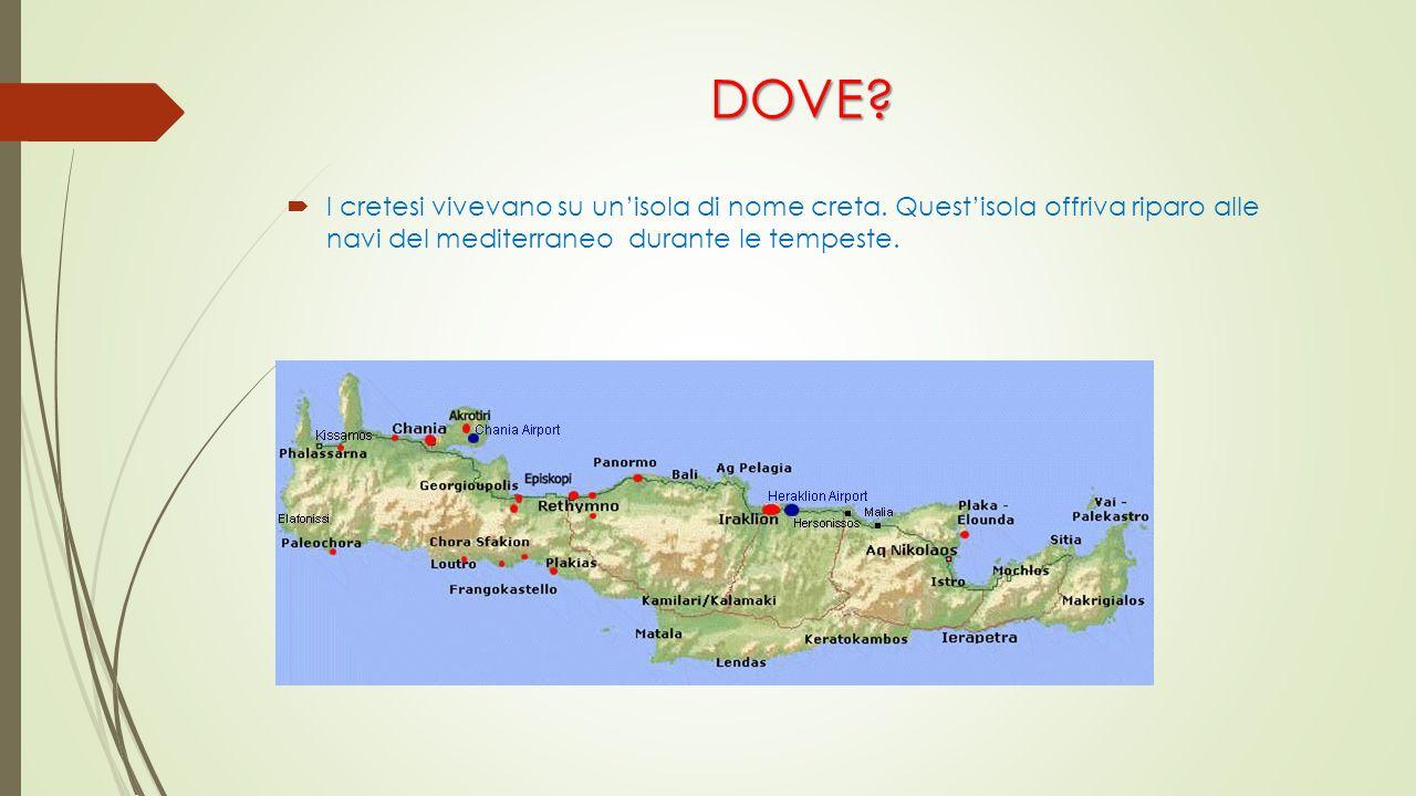 DOVE?  I cretesi vivevano su un'isola di nome creta. Quest'isola offriva riparo alle navi del mediterraneo durante le tempeste.