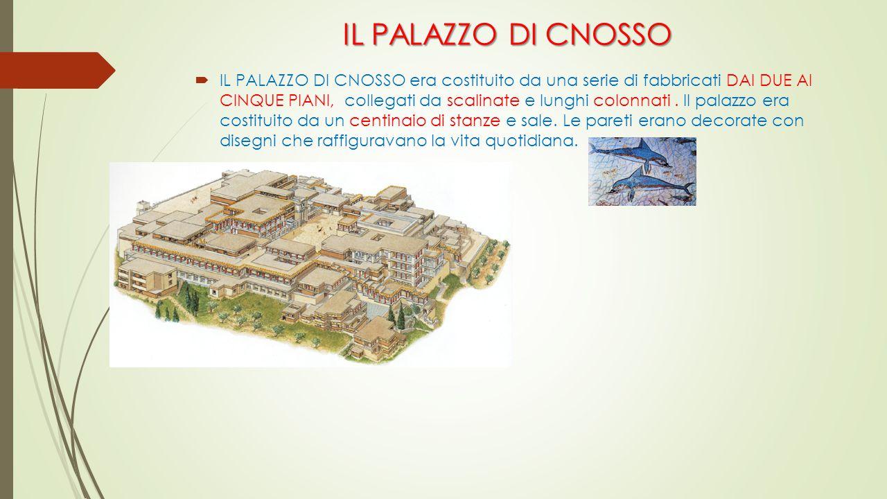 IL PALAZZO DI CNOSSO  IL PALAZZO DI CNOSSO era costituito da una serie di fabbricati DAI DUE AI CINQUE PIANI, collegati da scalinate e lunghi colonna
