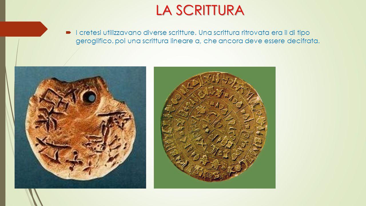 LA SCRITTURA  I cretesi utilizzavano diverse scritture. Una scrittura ritrovata era il di tipo geroglifico. poi una scrittura lineare a, che ancora d