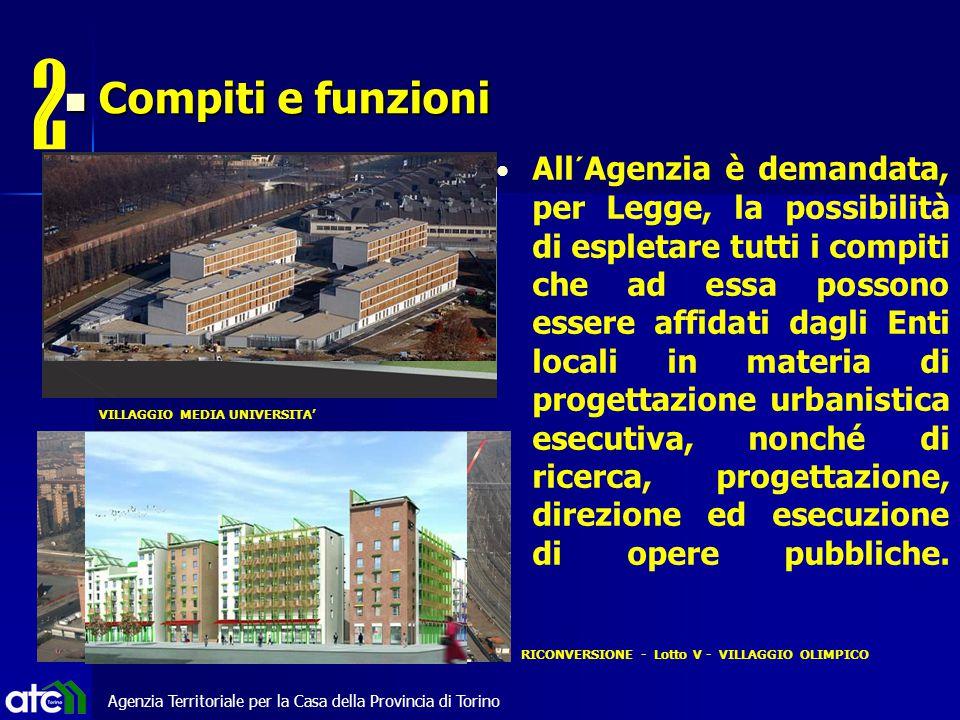 Agenzia Territoriale per la Casa della Provincia di Torino All´Agenzia è demandata, per Legge, la possibilità di espletare tutti i compiti che ad essa possono essere affidati dagli Enti locali in materia di progettazione urbanistica esecutiva, nonché di ricerca, progettazione, direzione ed esecuzione di opere pubbliche.
