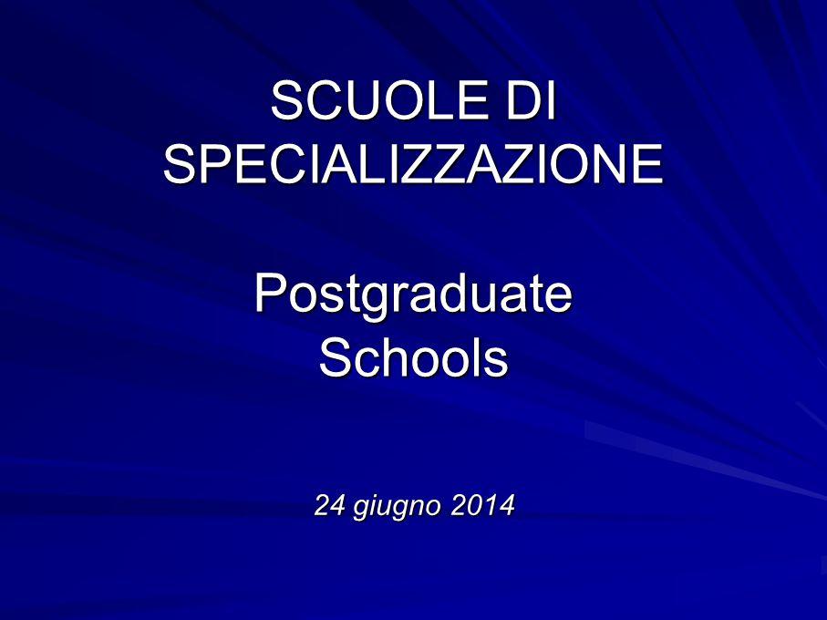 SCUOLE DI SPECIALIZZAZIONE Postgraduate Schools 24 giugno 2014