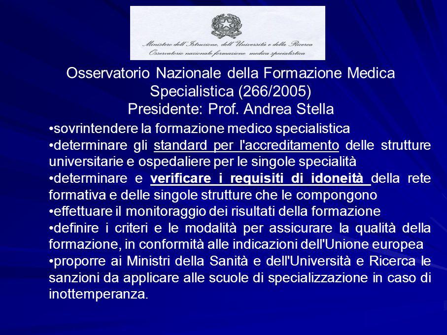 Osservatorio Nazionale della Formazione Medica Specialistica (266/2005) Presidente: Prof.