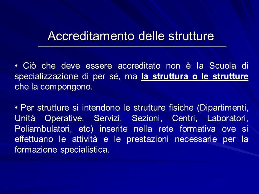Ciò che deve essere accreditato non è la Scuola di specializzazione di per sé, ma la struttura o le strutture che la compongono.