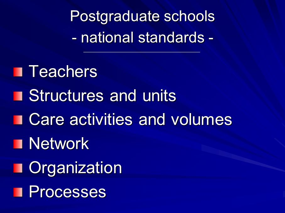Postgraduate schools - national standards - Teachers Teachers Structures and units Structures and units Care activities and volumes Care activities and volumes Network Network Organization Organization Processes Processes