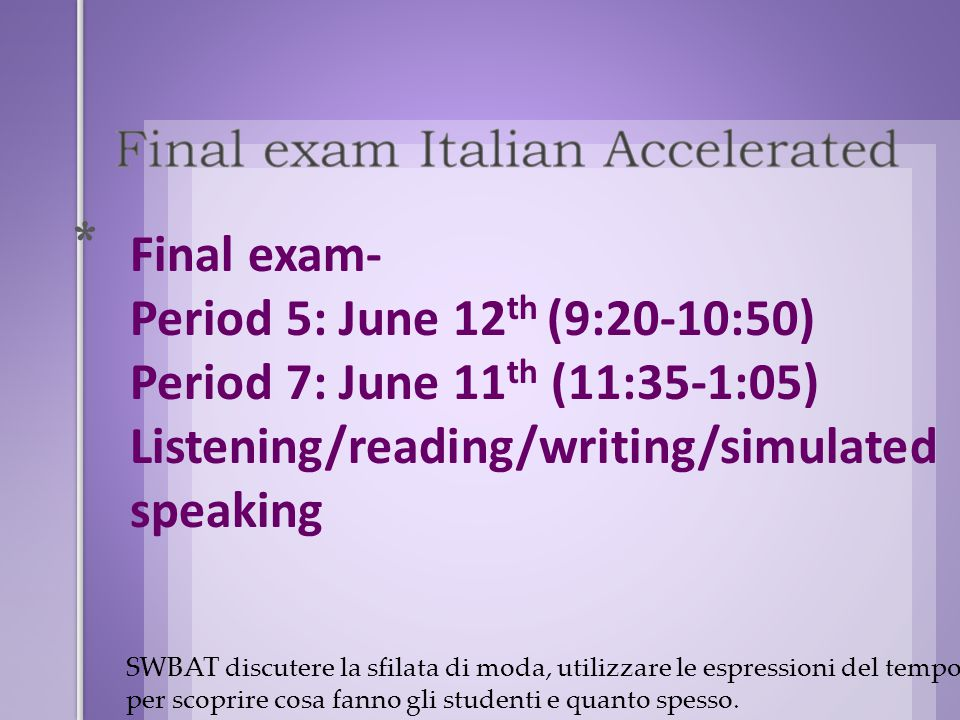 The exam will include: 1.Simulated Speaking – 2o points (5 situations) 2.