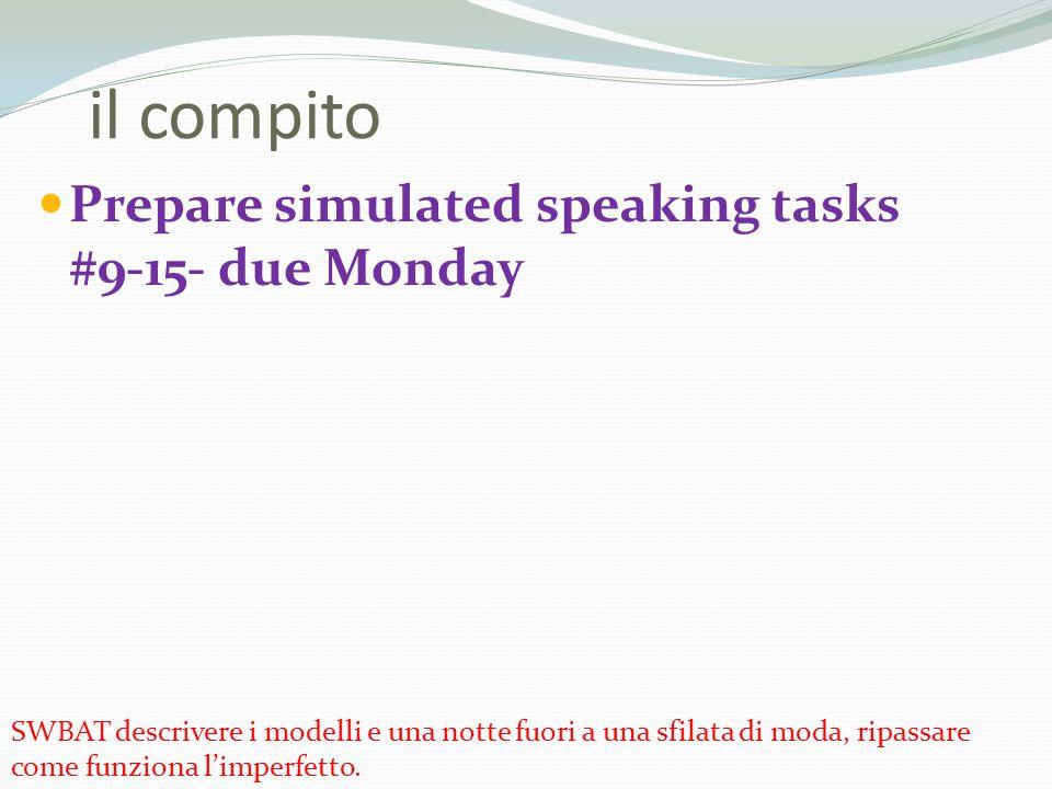 Prepare simulated speaking tasks #9-15- due Monday il compito SWBAT descrivere i modelli e una notte fuori a una sfilata di moda, ripassare come funzi