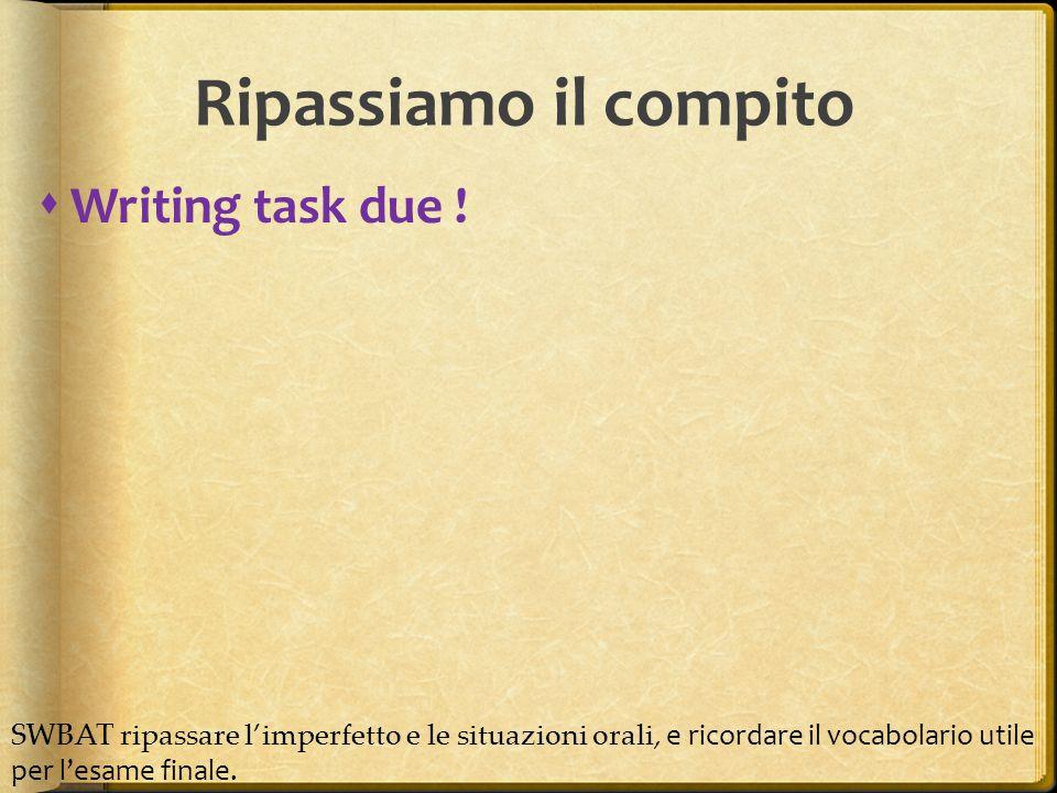  Writing task due .