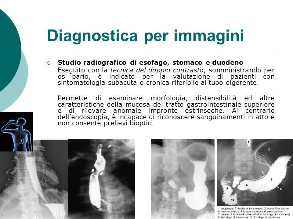 Diagnostica per immagini  Studio radiografico di esofago, stomaco e duodeno Eseguito con la tecnica del doppio contrasto, somministrando per os bario, è indicato per la valutazione di pazienti con sintomatologia subacuta o cronica riferibile al tubo digerente.