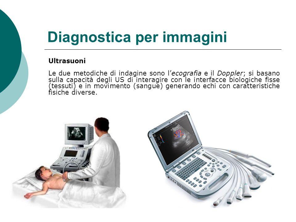 Diagnostica per immagini Ultrasuoni Le due metodiche di indagine sono l'ecografia e il Doppler; si basano sulla capacità degli US di interagire con le interfacce biologiche fisse (tessuti) e in movimento (sangue) generando echi con caratteristiche fisiche diverse.