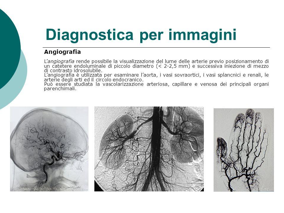Diagnostica per immagini Angiografia L'angiografia rende possibile la visualizzazione del lume delle arterie previo posizionamento di un catetere endoluminale di piccolo diametro (< 2-2,5 mm) e successiva iniezione di mezzo di contrasto idrosolubile.