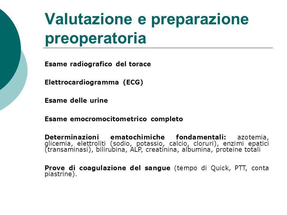 Valutazione e preparazione preoperatoria Esame radiografico del torace Elettrocardiogramma (ECG) Esame delle urine Esame emocromocitometrico completo Determinazioni ematochimiche fondamentali: azotemia, glicemia, elettroliti (sodio, potassio, calcio, cloruri), enzimi epatici (transaminasi), bilirubina, ALP, creatinina, albumina, proteine totali Prove di coagulazione del sangue (tempo di Quick, PTT, conta piastrine).