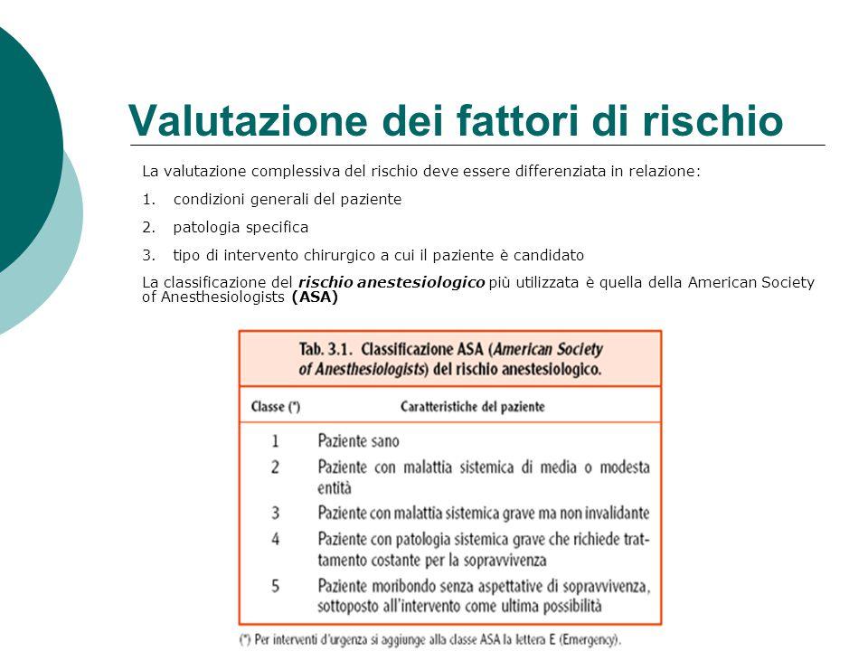 Valutazione dei fattori di rischio La valutazione complessiva del rischio deve essere differenziata in relazione: 1.