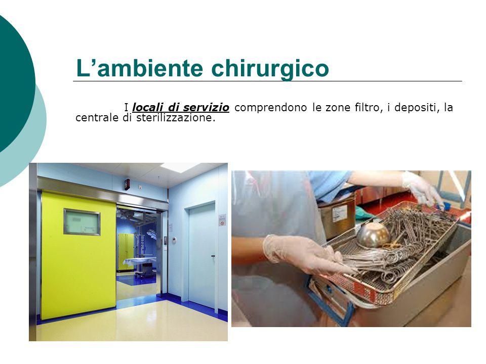 L'ambiente chirurgico I locali di servizio comprendono le zone filtro, i depositi, la centrale di sterilizzazione.