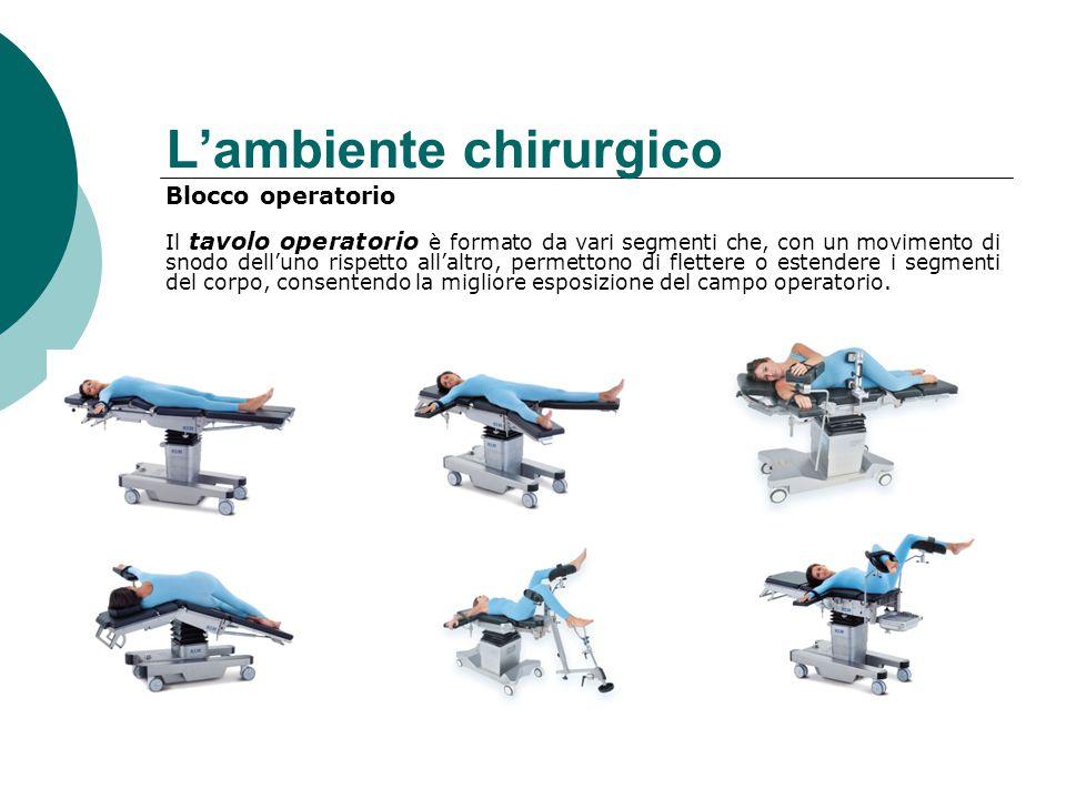 L'ambiente chirurgico Blocco operatorio Il tavolo operatorio è formato da vari segmenti che, con un movimento di snodo dell'uno rispetto all'altro, permettono di flettere o estendere i segmenti del corpo, consentendo la migliore esposizione del campo operatorio.