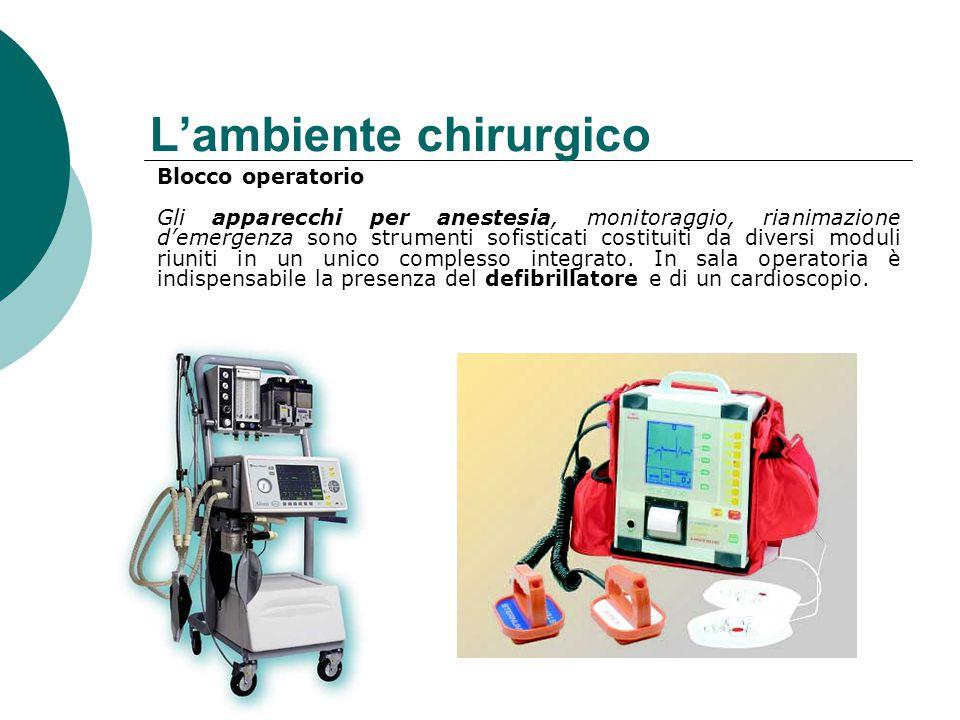 L'ambiente chirurgico Blocco operatorio Gli apparecchi per anestesia, monitoraggio, rianimazione d'emergenza sono strumenti sofisticati costituiti da diversi moduli riuniti in un unico complesso integrato.