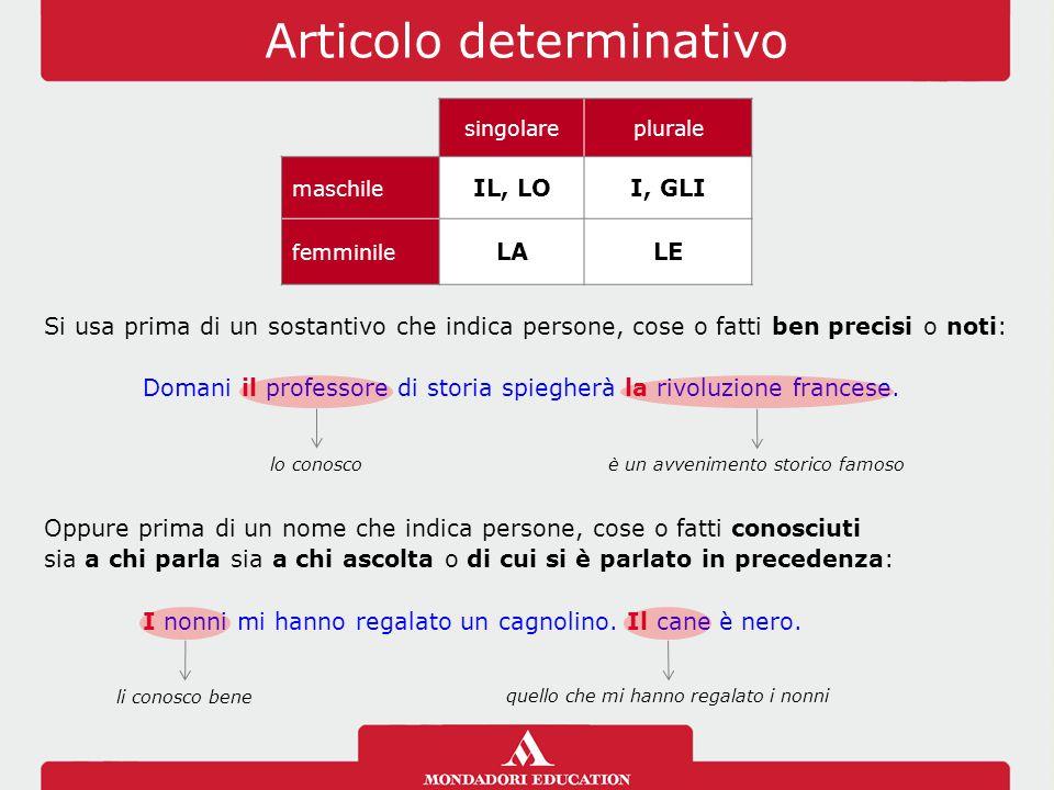 Articolo determinativo singolareplurale maschile IL, LOI, GLI femminile LALE Si usa prima di un sostantivo che indica persone, cose o fatti ben precis