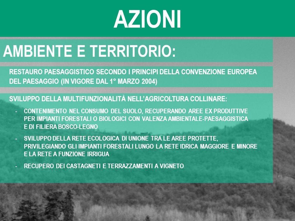 AZIONI AMBIENTE E TERRITORIO: RESTAURO PAESAGGISTICO SECONDO I PRINCIPI DELLA CONVENZIONE EUROPEA DEL PAESAGGIO (IN VIGORE DAL 1° MARZO 2004) SVILUPPO